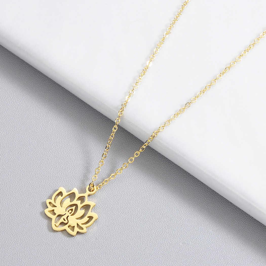 القلائد للنساء اليوغا اللوتس قلادة قلادة 3 ألوان الذهب و ارتفع الذهب والفضة اللون مجوهرات الأزياء