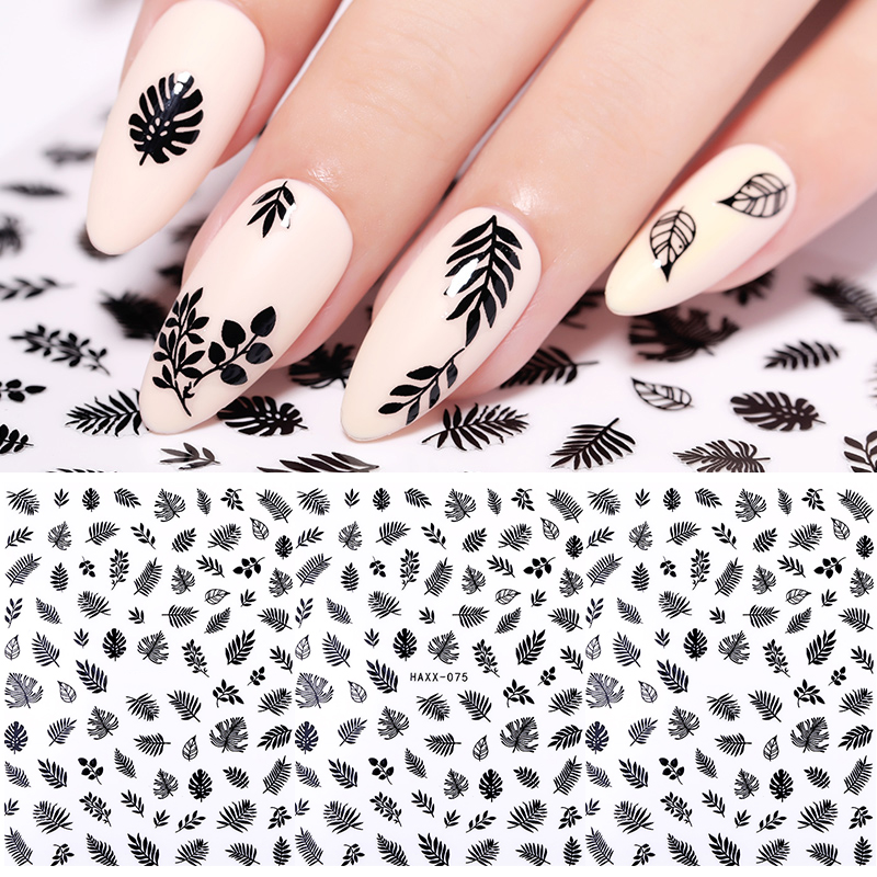 1 Pc 3D Nail Sticker  Colorful Marple Leaf  Black Nail Art Transfer Stickers DIY Nail Art  Decorations