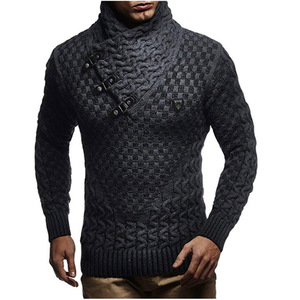ZOGAA Men Sweaters 2019 Hot Warm Hedging Turtleneck Pullover Sweater Male Casual Knitwear Slim Winter Sweater Men Brand Clothing(China)