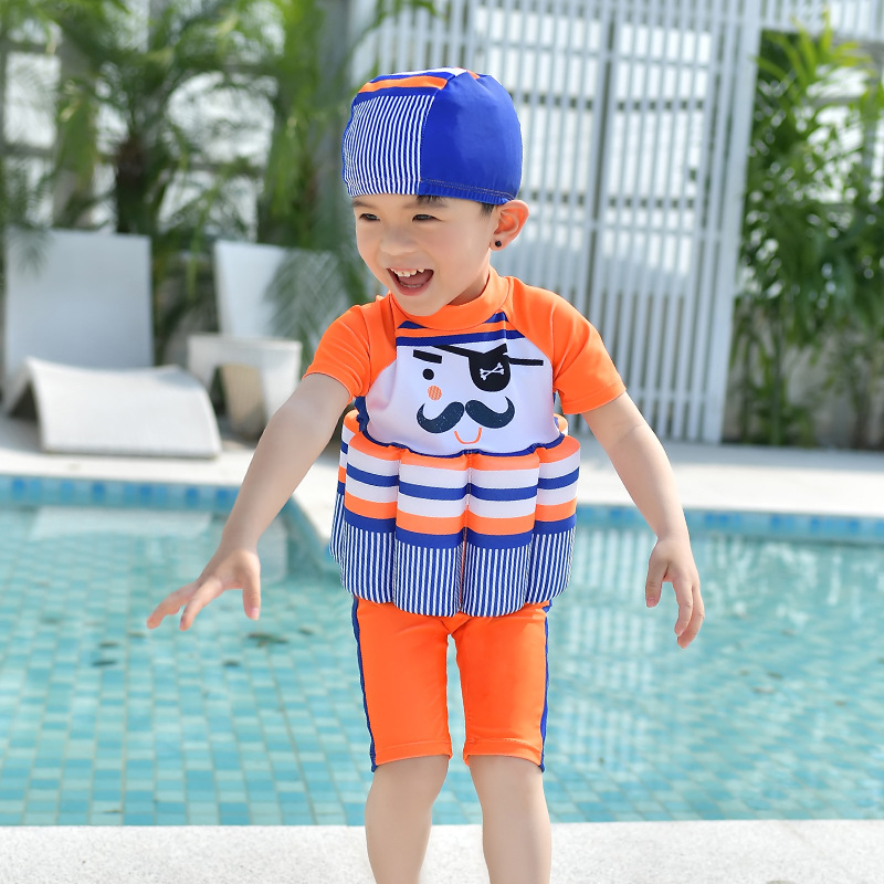 Children One-piece Buoyancy Bathing Suit Children Learn Swimming Training Suit BOY'S Girls Boxer Sports Multi--Cartoon Swimwear