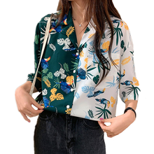 Hot Summer Bohemian Style Palm Leaves Print Blouse Womens Patchwork Half Color