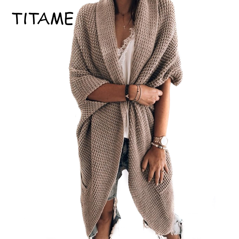 Outwear Warm Bat Sleeve Large Size Long Knit Cardigan Sweater Pocket Women Open Stitch Casual Knitted Sweater For Autumn Winter