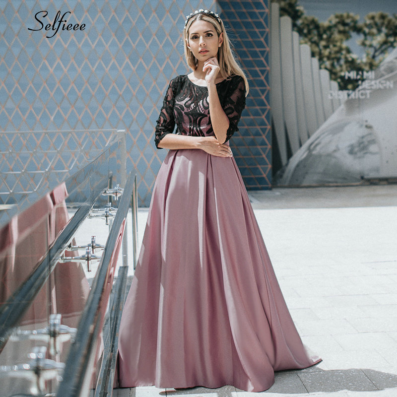Elegant Dresses A-Line O-Neck Empire Bow Lace Contrast Color Sexy Woman's Dresses Evening Formal Party Gowns 2020 Robe ete Femme