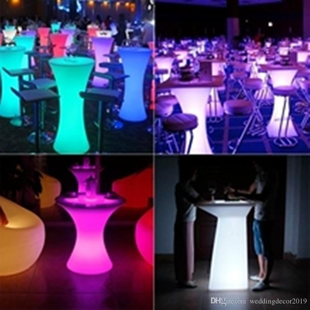 Перезаряжаемый светодиодный светящийся высококачественный журнальный столик, Круглый барный стол, водонепроницаемый, IP 54, освещенный