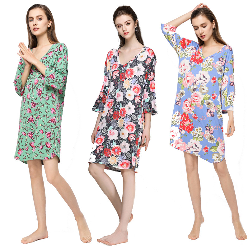 Spring And Summer Modal Tracksuit Printed V-neck Dress Three-quarter-length Sleeve WOMEN'S Nightgown Plus-sized Large Size Fat M