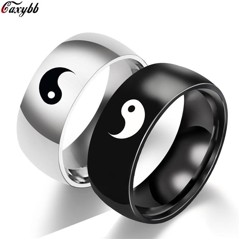 Yin Yang кольцо для пары мужские аксессуары Tai Chi узоры любовные кольца для женщин винтажные ювелирные изделия обручальное кольцо женские модны...