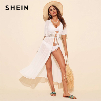 SHEIN cintura encaje Kimono sin Bikini mujeres de media manga verano sólida pura Boho Kimonos largos