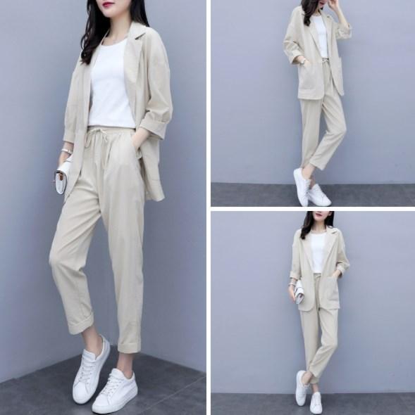 Summer Office Trouser Suits for Women Autumn Pant Suits 3/4 Sleeve Blazer Jacket & Pencil Pants Blue Yellow Beige Female Suit