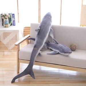 Image 3 - Simulation shark plush toy strip sleeping pillow big white shark children Tricky Creative Toys birthday gift for kids friends