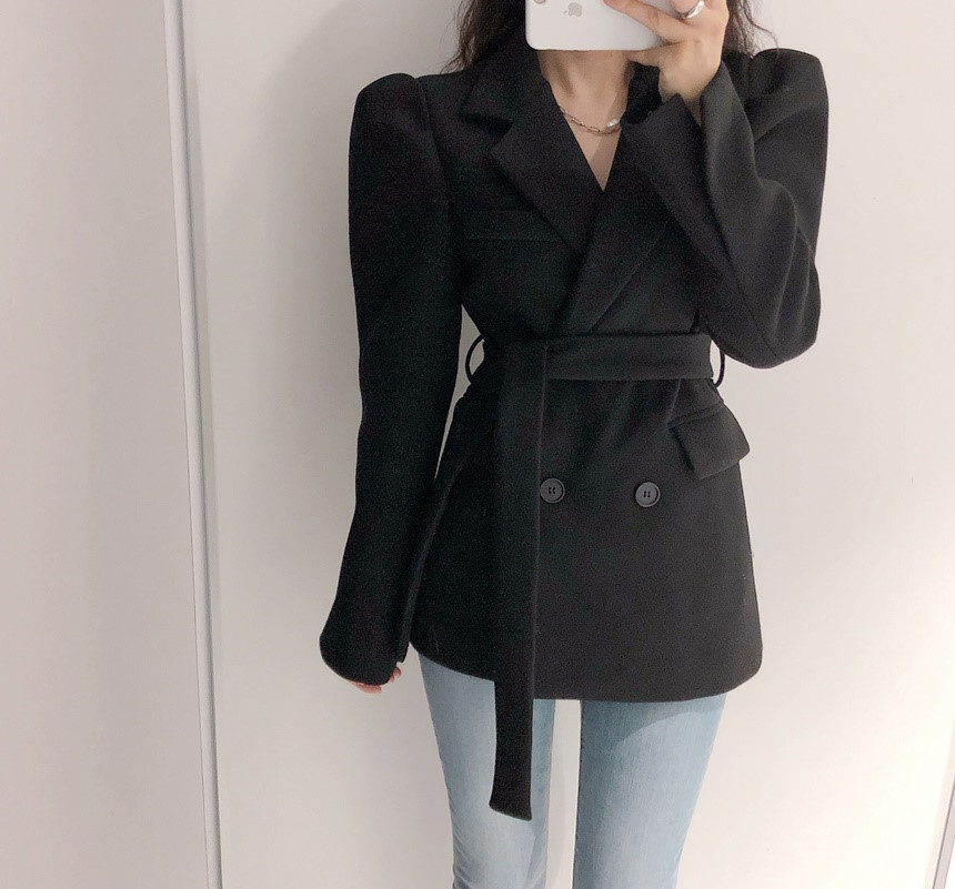 HziriP Spring New Fashion Woolen Blazer Coat Women Double-breasted Bubble Sleeve Work Suit Jacket Office Lady Solid Slim Blazers