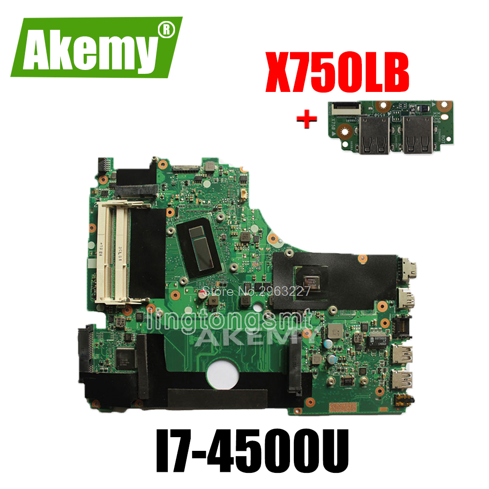 send board+<font><b>X750LB</b></font> Motherboard i7-4500U GT 740M REV2.0 For <font><b>ASUS</b></font> <font><b>X750LB</b></font> Laptop motherboard <font><b>X750LB</b></font> Mainboard <font><b>X750LB</b></font> Motherboard image