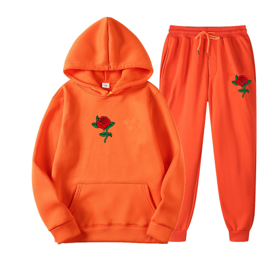 Suits Tracksuits Men Harajuku Rose Flower Print  Hoodies Winter Sweatshirt Casual 2-piece Set Jogger Pants+Pullovers Streetwear (7)