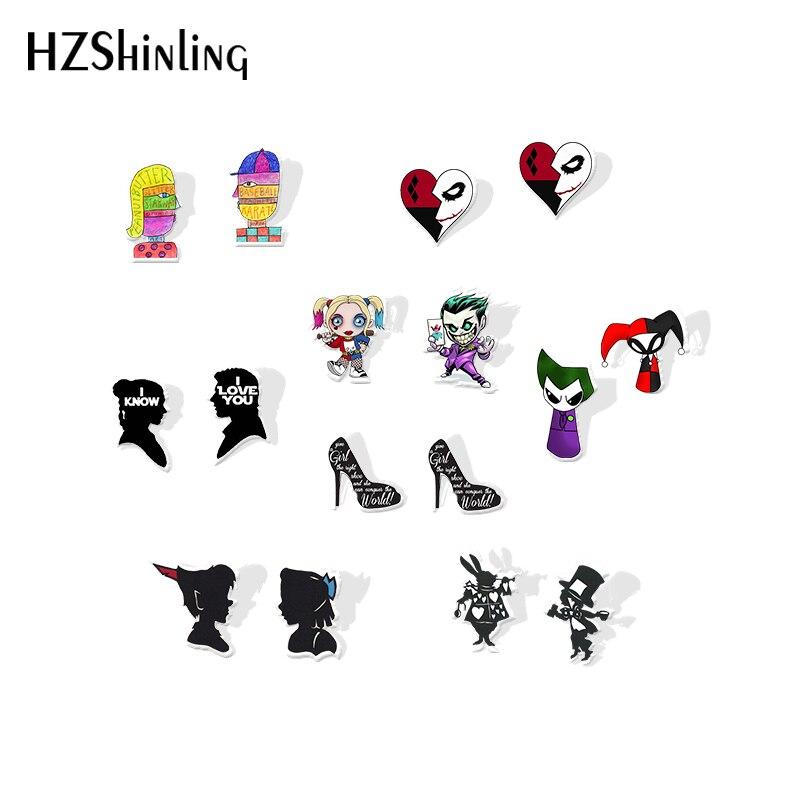 2019 New Harley Quinn Joker Acrylic Earring Marilyn Monroe Fashion Earrings Epoxy Little Red Riding Hood Stud Earring