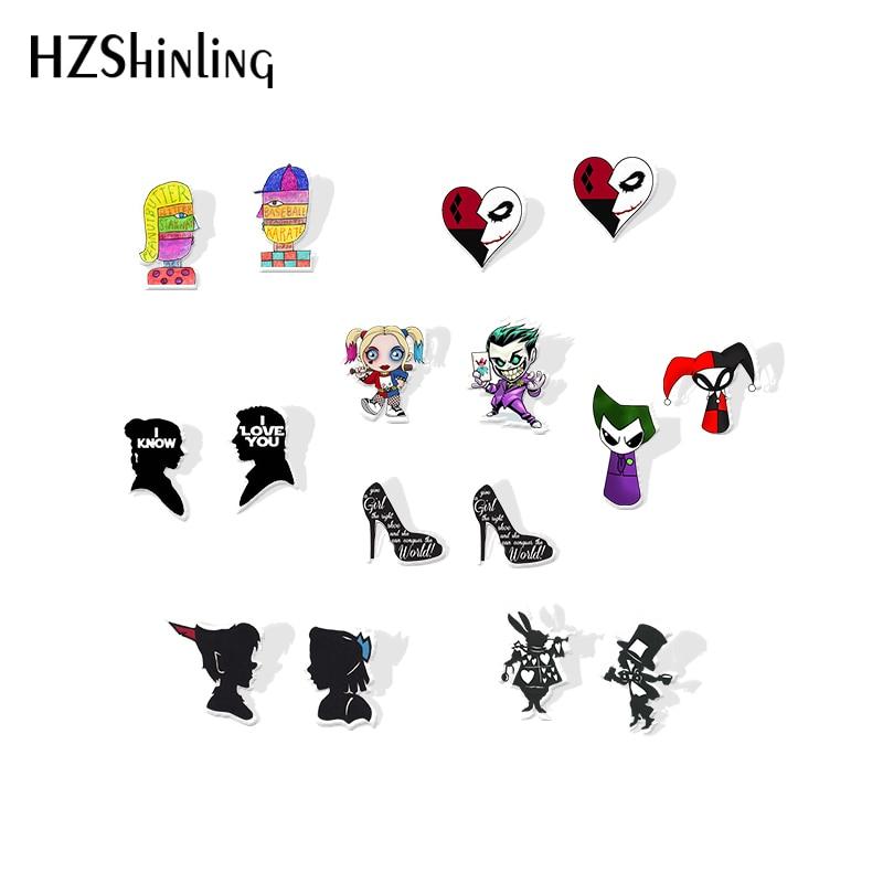 2019 New Harley Quinn Joker Acrylic Earring Marilyn Monroe Silver Plated Earrings Epoxy Little Red Riding Hood Stud Earring