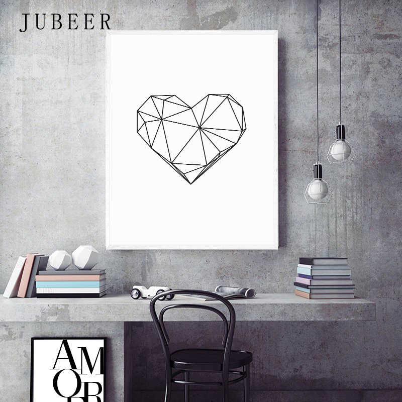 Stile scandinavo Amore Poster tela bianca e nera pittura Amore immagini da parete per soggiorno decorazione nordica Home Art