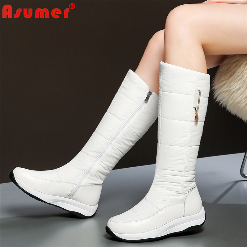 ASUMER Plus size 35-44 High quality Cow Genuine leather boots women down warm thick fur winter boots lady knee high snow boots