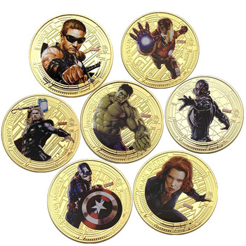 The Avenger Commemorative Coin Captain America Iron Man Thor Hulk Civil War Challenge Science Fiction Movie Coins Collecti