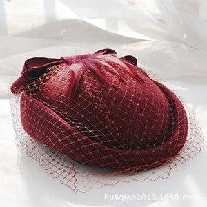 Image 2 - 100% lã fascinator inverno elegante feminino pillbox chapéu preto feltro vermelho senhoras boina casamento chapéus bowknot kentucky derby fedoras