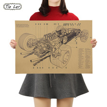 TIE LER Retro estilo de diseño de coche colección de decoración de dormitorio de cocina Posters adorno cartel vintage pegatinas de pared 50x35cm