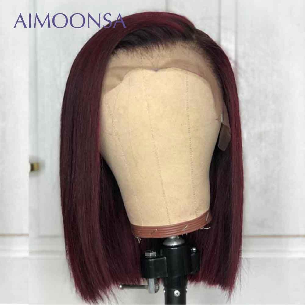 Парики из натуральных волос на кружеве бордового цвета с эффектом омбре, прямые волосы красного цвета 1B/99J для женщин, перуанские волосы Remy ... - 2