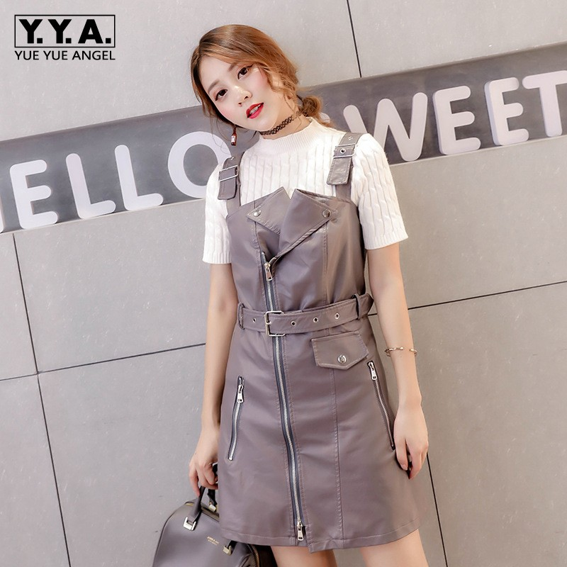 New Women <font><b>Sexy</b></font> Motorcycle Pu Leather <font><b>Mini</b></font> <font><b>Straps</b></font> <font><b>Dress</b></font> Korean Belt Zipper Slim Fit <font><b>Casual</b></font> Suspender <font><b>Dress</b></font> Plus Size XS-5XL image