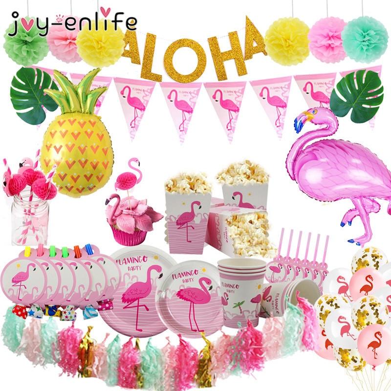 Hawaii Party Luau Rosa Flamingo Party Dekoration Papier Platte Tasse Serviette Geburtstag Party Sommer Hawaii Hawaiian Party Liefert