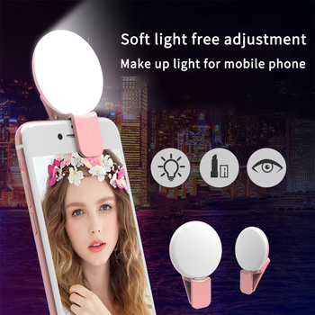 Portable Selfie Ring Light For Phone LED Soft Ring Light Clip Lamp Photography Makeup Mobile Phone Lens for iPhone iPad Samsung 1