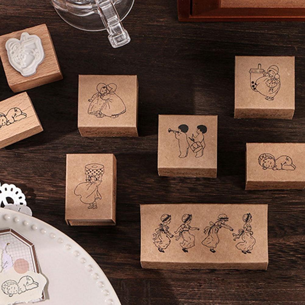 1pc Vintage Wooden Rubber Stamps Set Plant Tree Flower Diy Number Stamp For Card Making Scrapbooking Notebook Diary Decorative