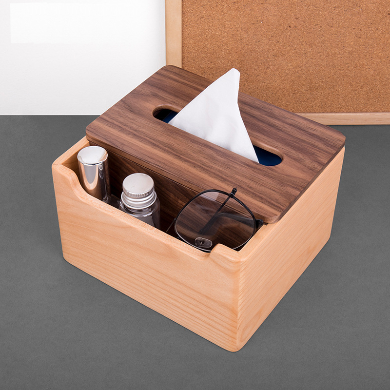 Wooden Facial Tissue Box Car Hotel Rectangle Shaped Tissue Container Towel Napkin Organizer Multifunctional Storage Box Walnut