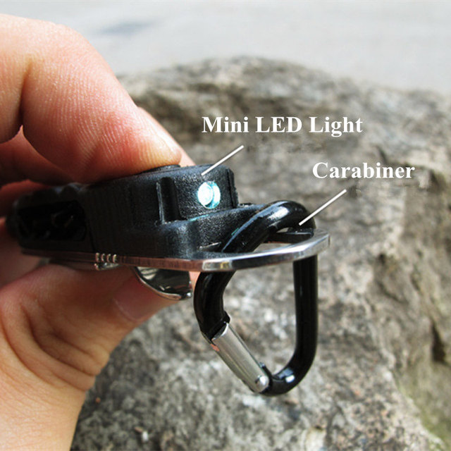 Mini Black Pocket Driver with Hex Screwdriver Led Light Carabiner Outdoor Sports Camping Self Defense EDC Tools Tactical Kits