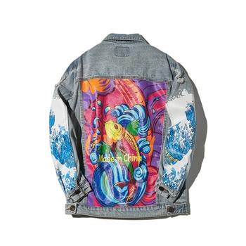 Harajuku Graffiti Printed Hip Hop Denim Jacket Men Fashion Streetwear Destroyed Hole Fashion Blue Jeans Jacket for Male R3198
