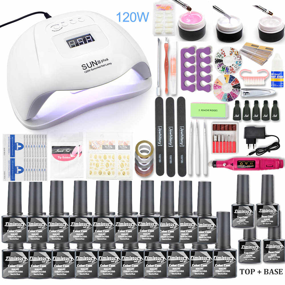 Ensemble d'ongles 120W UV lampe à LED pour manucure Gel vernis à ongles ensemble Kit Gel vernis électrique perceuse à ongles manucure ensembles outils d'art d'ongle