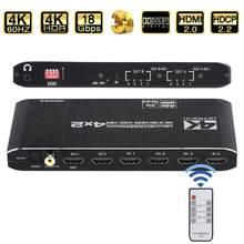 Kebidu 4x2 Matrix Switch Splitter con SPDIF e L/R 3.5mm HDR Switch compatibile HDMI 4x2 supporto HDCP 2.2 ARC 3D 4K @ 60Hz