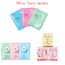9Pcs Face Mask hyaluronic acid Plant flowers seaweed extraction Moisturizing Whitening Anti-Aging Facial Masks korean skin care стоимость