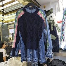 SHENGPALAE Herfst Ronde Kraag Contrast Gebreide Stiksels Denim Shirt Vrouwen Losse Casual Fake Twee Stukken Blusa Feminina Tij FV055