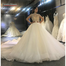 Full beading top body elegant wedding dress handmade high quality bridal dress 2020