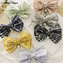 New Fashion Pearl Bag Waist Steel Clip Ladies Korean Version Of The Barrette Bow Spring Clip Retro Lattice Girl Hair Accessories korean version of slim fashion in the big girl child sweat breathable spring new girl dress for3 13t