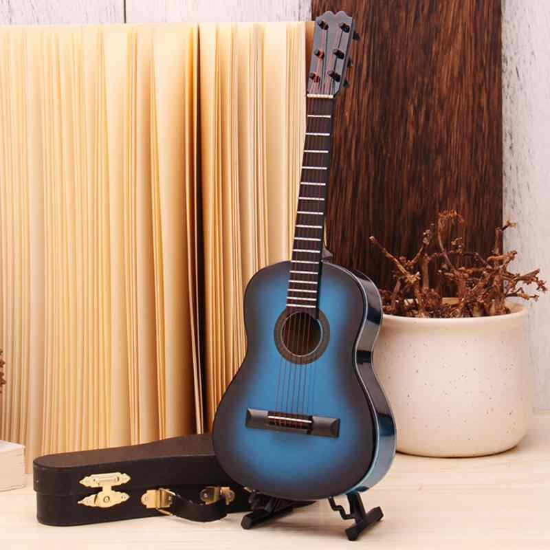 Guitar Model Wooden Guitar Model Mini Musical Ornaments Miniature Guitar Model Craft Home Decor with Guitar Stand and Delicate Storage Box