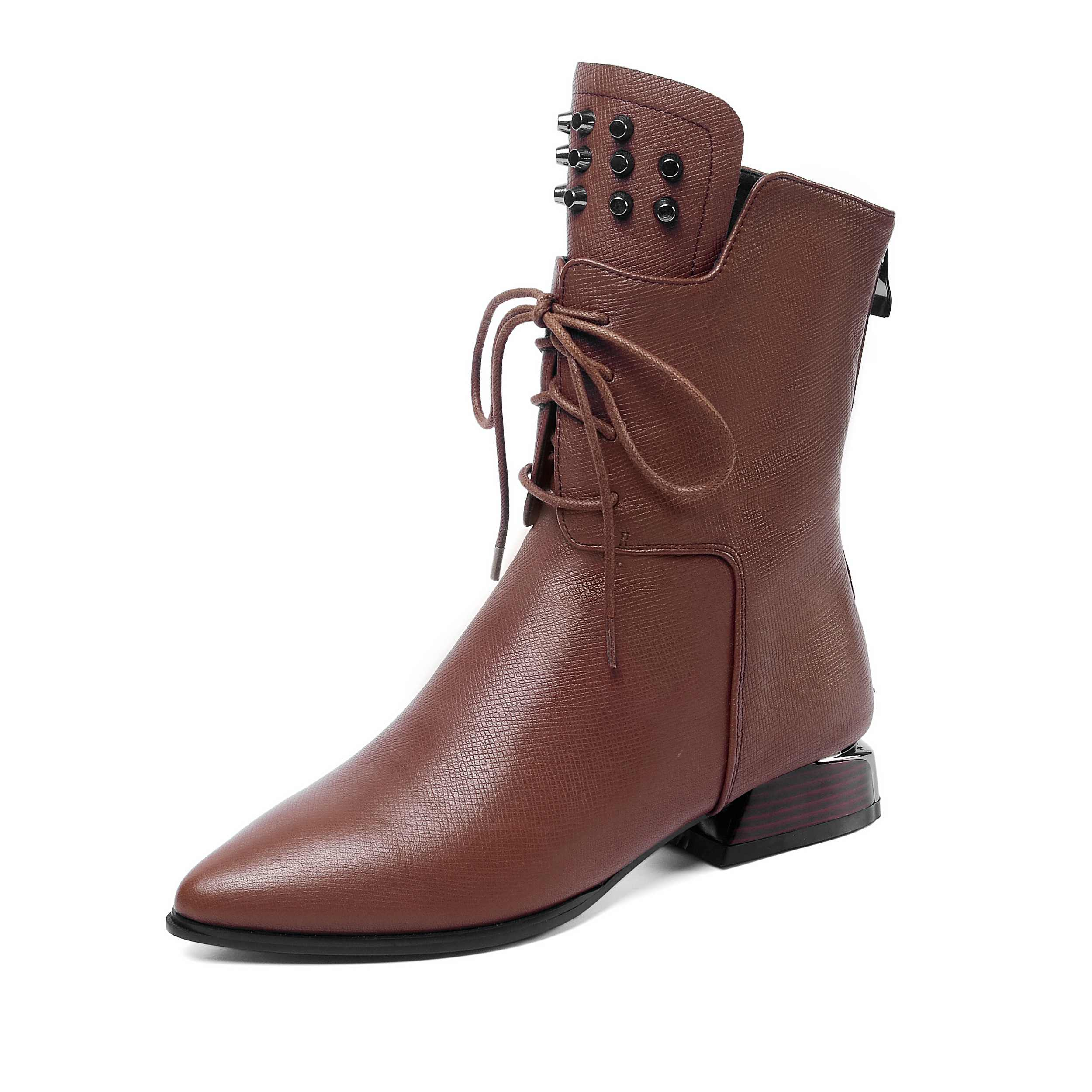 Image 3 - Krazing Pot solid rivets lace up genuine leather pointed toe med  heels mature women leisure fashion cozy warm mid calf boots L11Mid-Calf  Boots