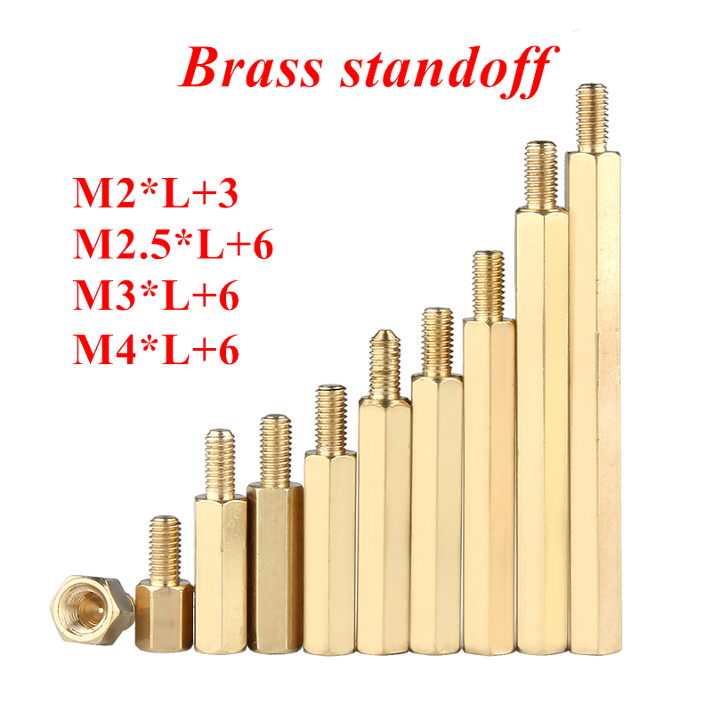 10-50pcs Hex <font><b>Brass</b></font> spacing <font><b>screws</b></font> M2 M2.5 <font><b>M3</b></font> M4 <font><b>brass</b></font> standoff spacer hexagonal stud Spacer Hollow Pillars Male to Female image