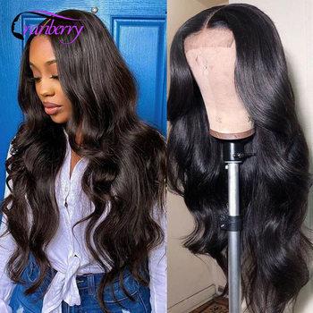 Парики из натуральных волос на кружевной основе Cranberry 360, парики из перуанских волнистых волос Remy для женщин 4x4