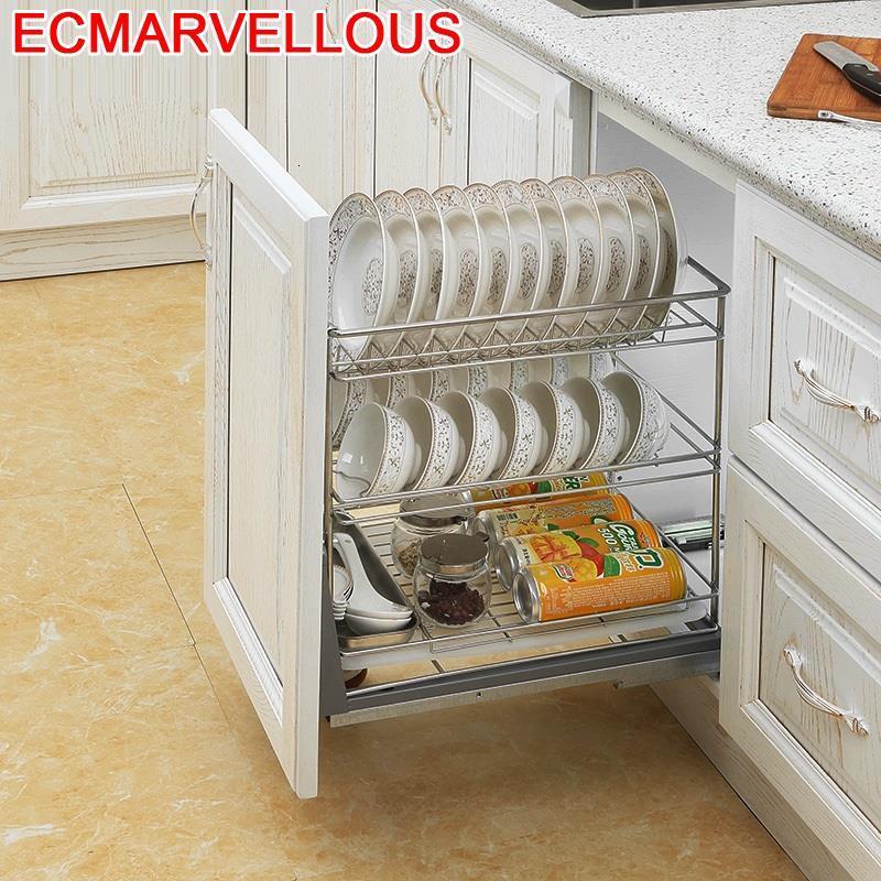 Organizer Cestas Corredera Armario De Cocina Despensa Stainless Steel Cuisine Cozinha Rack Kitchen Cabinet Storage Basket