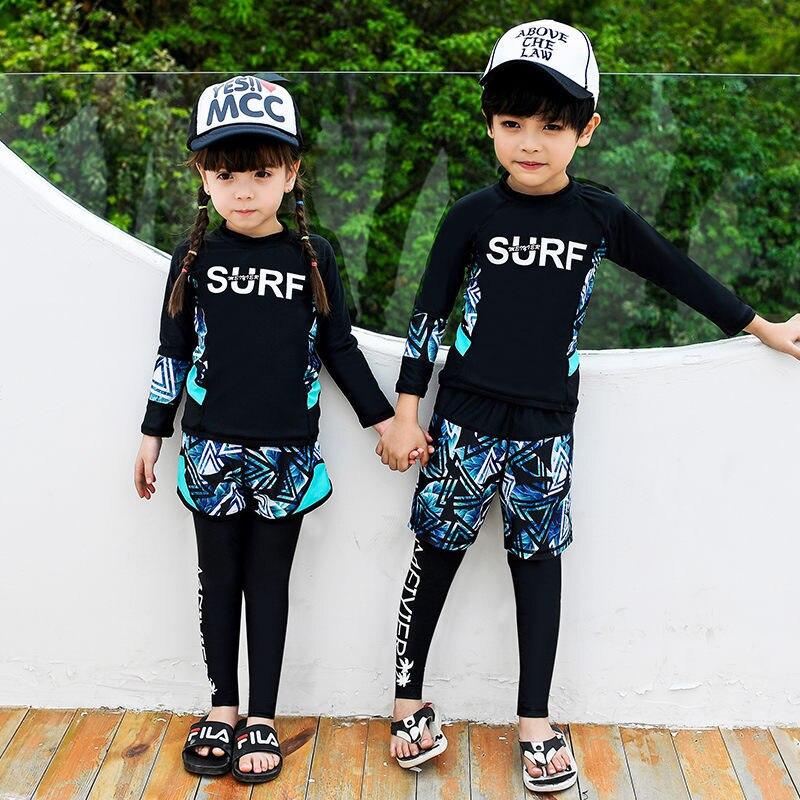 2019 New Style CHILDREN'S Swimsuit Set Waterproof Mother Diving Suit Split Type Three-piece Set Sun-resistant BOY'S Tour Bathing