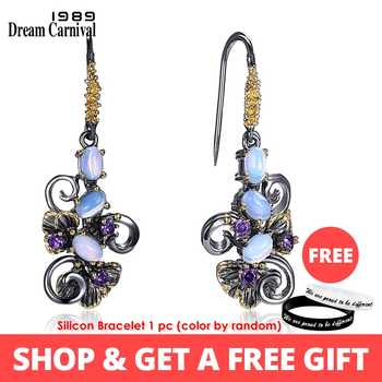DreamCarnival1989 Recommend Beautiful Flower Earings Gift Women Must Have Vintage Design Dangle Blue Opal Stones Jewelry WE3857 - DISCOUNT ITEM  33% OFF All Category