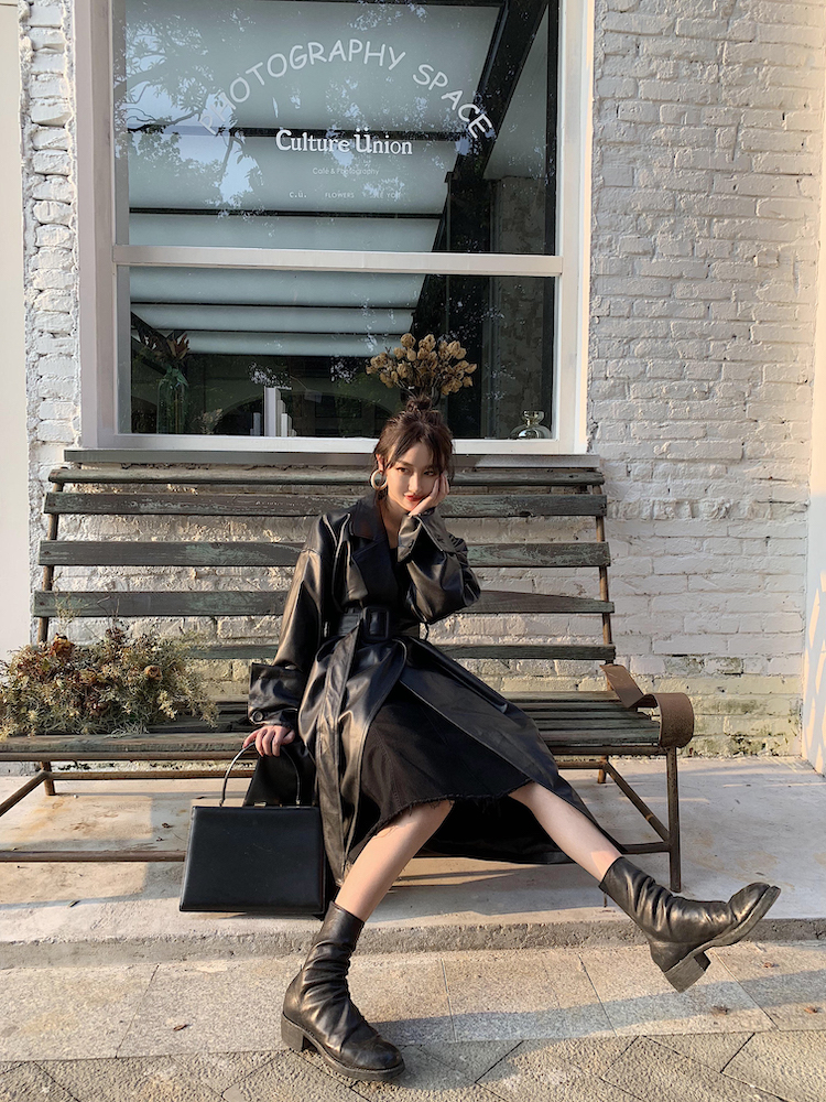 H302a4c93d01f4b16ba9da6777260d979s Lautaro Long oversized leather trench coat for women long sleeve lapel loose fit Fall Stylish black women clothing streetwear