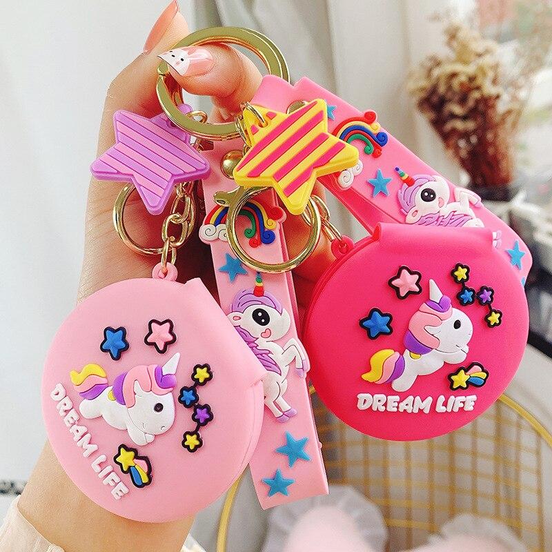 Милый мультяшный милый Единорог маленькая зеркальная Пряжка для ключей Автомобильный брелок для ключей подарок на день рождения подарок н...