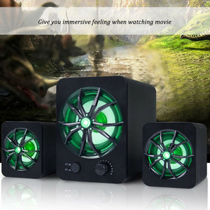 Image 2 - Wired Speaker LED LED Colorful Bass Stereo Player Subwoofer Computer Speakers Atmosphere Light Bass Stereo Player For Laptop PC