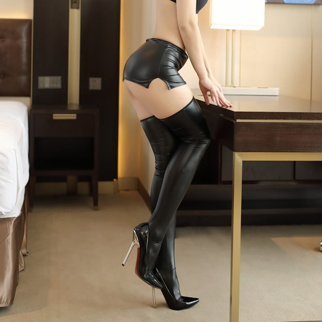 [Wanna turn your husband on? Let's try this, girl!]  Sexy Pu stockings and short skirt two piece set Woman erotic club outfits 5
