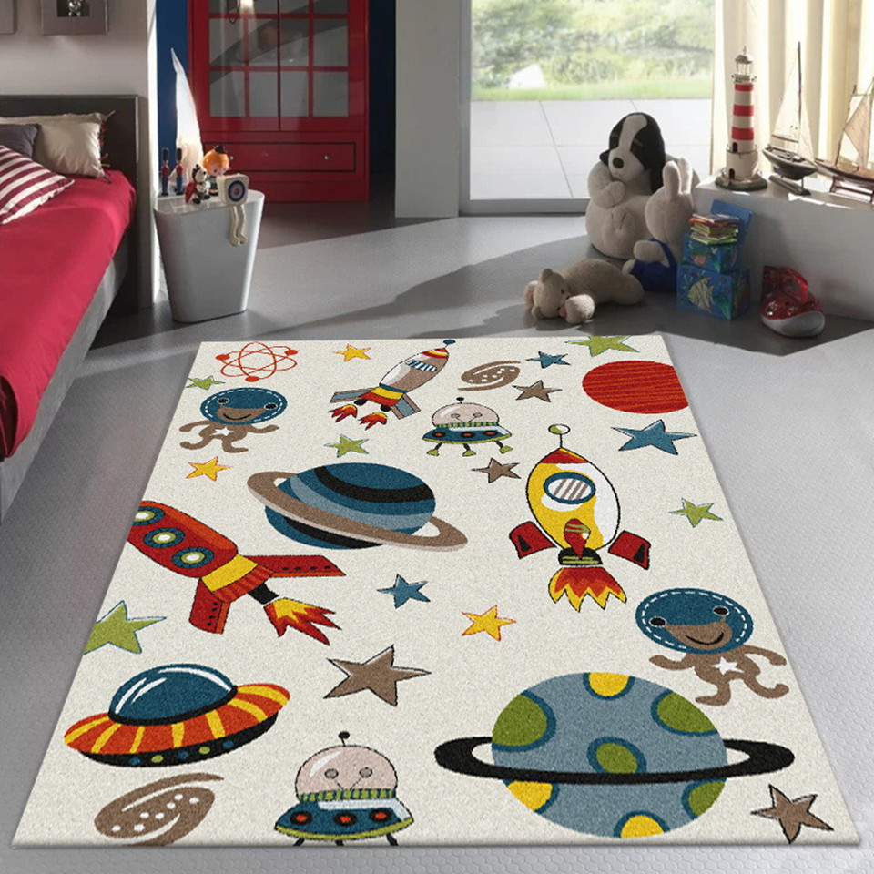 Cartoon Universe Spaceship Children Carpet For Bedroom Outer Space Design Anti Slip Floor Carpet Beside Mat