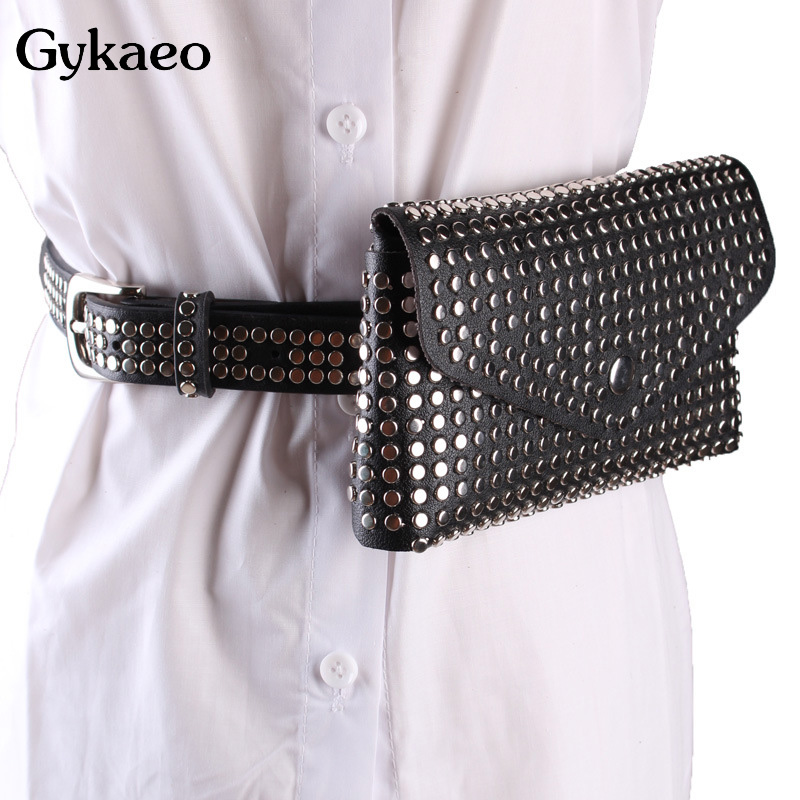New 2020 Casual Punk Style Rivet Black Fanny Pack Waist Bag Antitheft Women Walking Shopping Band Belt Multi-function Clutch Bag